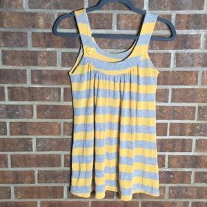 Boutique Yellow & Gray Striped Heart Knit Tank Top